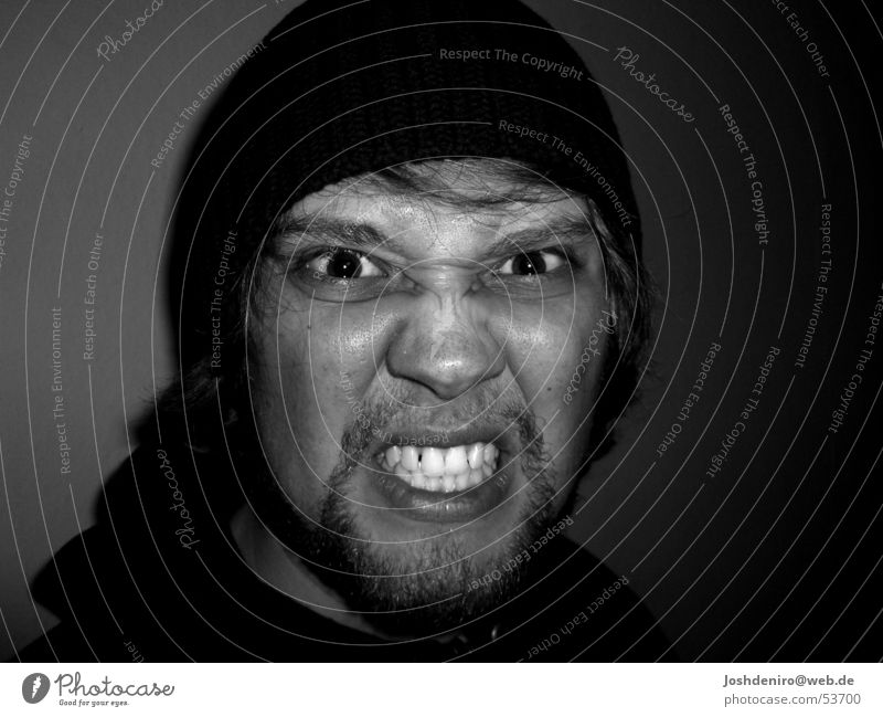could flip out Anger Man Face Eyes Hatred Emotions Black & white photo Teeth