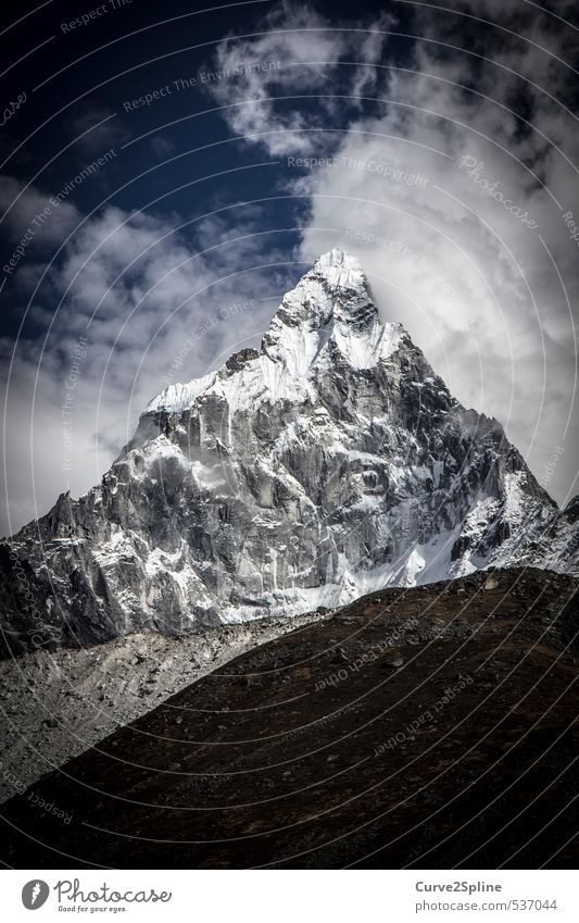 Ama Dablam Nature Landscape Elements Sky Ice Frost Snow Mountain Peak Snowcapped peak Far-off places Gigantic Infinity Strong Blue Gray Black White Enthusiasm