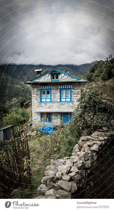 blue elements Landscape Clouds Fog Mountain Village House (Residential Structure) Detached house Wall (barrier) Wall (building) Window Safety (feeling of) Blue