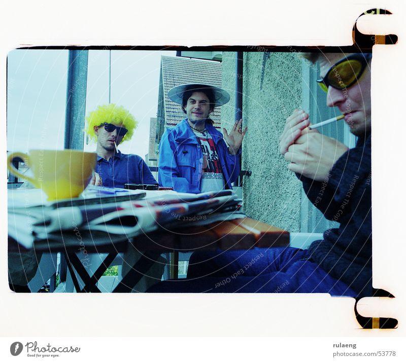 Friendship Smoking Carnival Group Balcony Sunglasses Wig 3 people