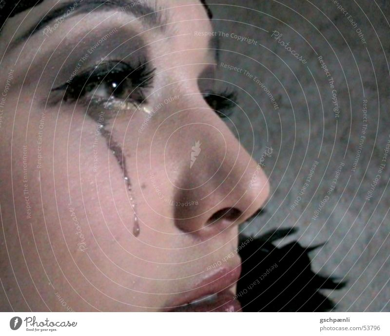 Tears part II Young woman The thirties Jazz Asians Wearing makeup Grief Concern Face Close-up Detail Feather To make dirty Stage play Daub