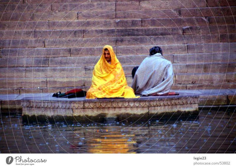 On the banks of the Ganges Ganga river India Varanasi