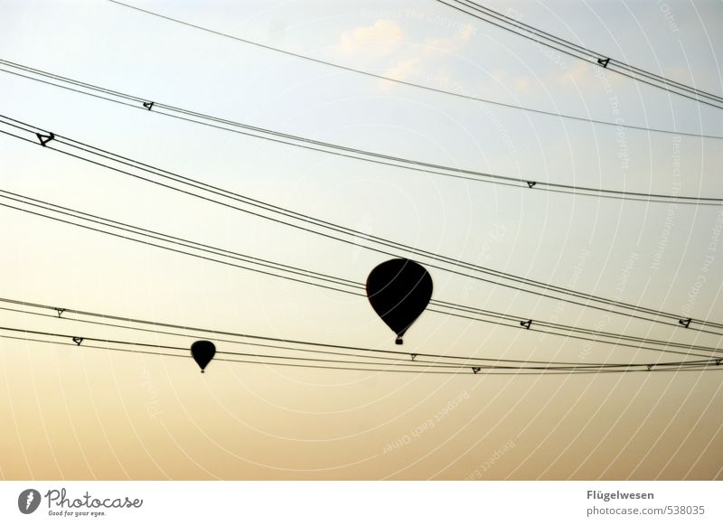 Sky Clouds Couple Flying Together Aviation Perspective Hover Departure Lovers Hot Air Balloon Electricity pylon High voltage power line Weightlessness