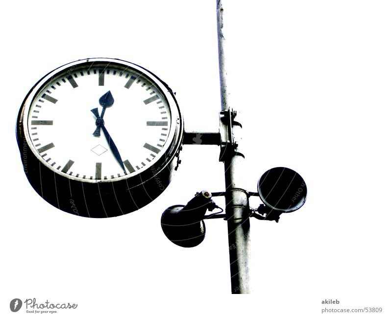 station clock Time Station clock Railroad Arrival Lunch hour Midday Clock Clock face Loudspeaker Isolated Image Sense of time Exterior shot Clock hand