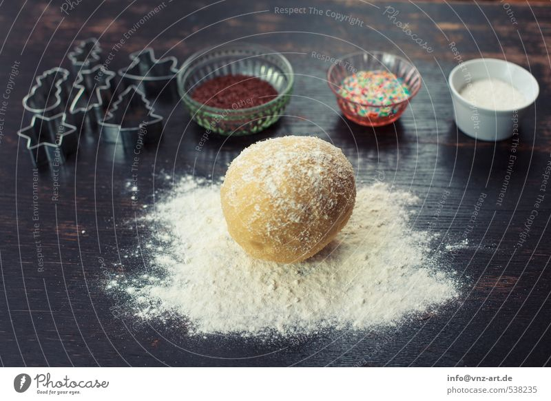Christmas & Advent White Black Wood Feasts & Celebrations Food Table Bowl Baked goods Dough Cookie Flour Granules