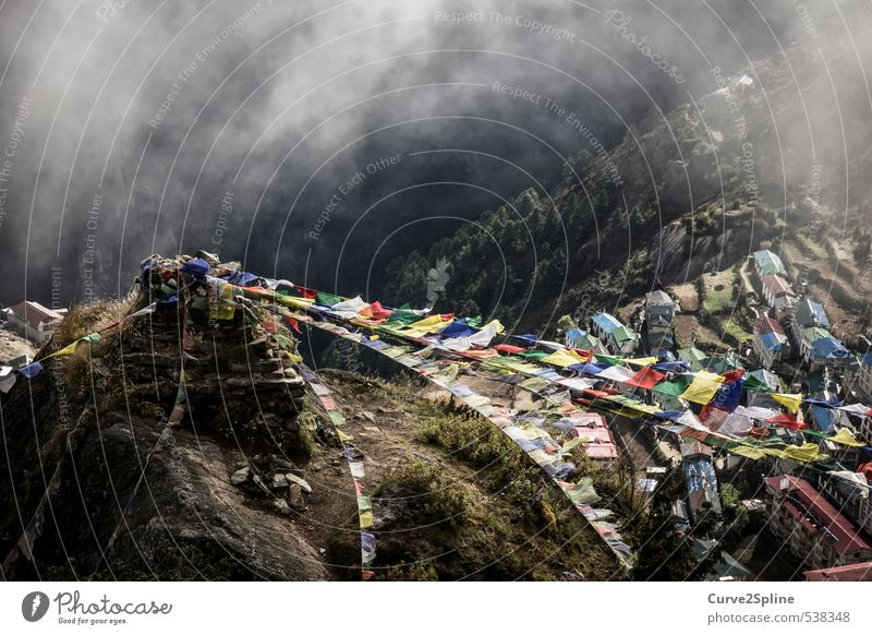 High Top Landscape Fog Mountain Village House (Residential Structure) Religion and faith Nepal Himalayas Namche Bazaar Prayer flags Lanes & trails Multicoloured