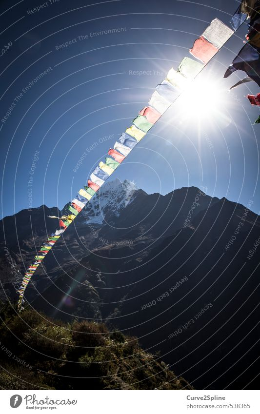 Nature Mountain Religion and faith Snowfall Peak Culture Himalayas Prayer flags Symbols and metaphors Multicoloured