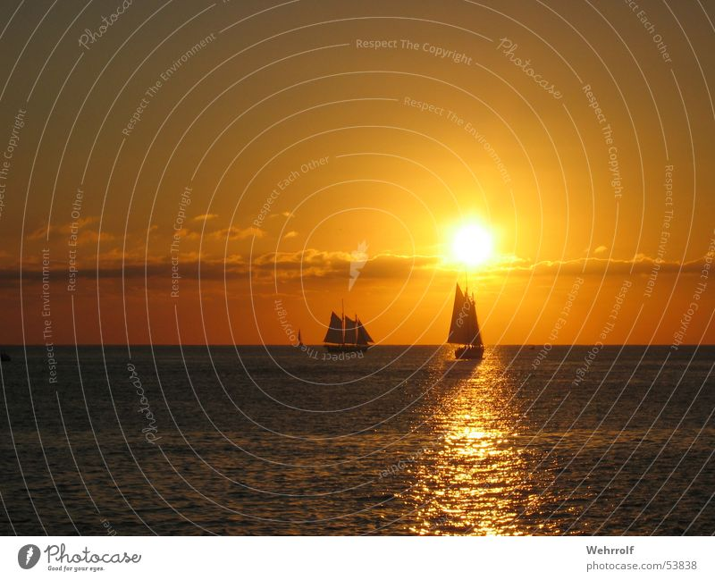 Sunset in Key West Sailboat Clouds Ocean Sky Florida Waves USA sea