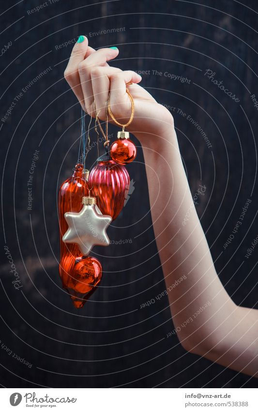 hand jewelry Lifestyle Elegant Style Decoration Feasts & Celebrations Christmas & Advent Young woman Youth (Young adults) Hand 1 Human being Glass Red Jewellery