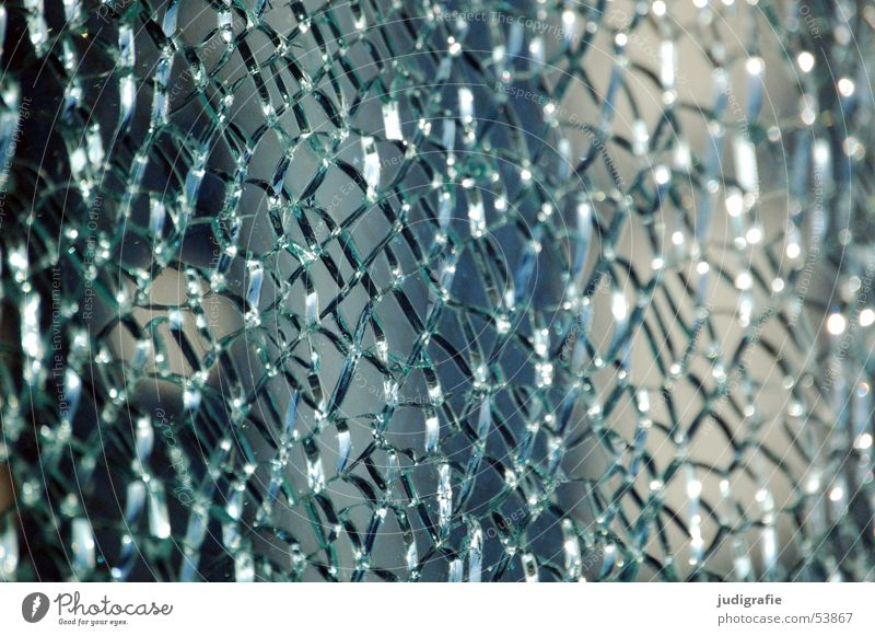 Shattered safety glass Broken Shard Mosaic Light Jump Transparent Derelict Window pane Glass Crack & Rip & Tear Shadow Blue Net Structures and shapes Clarity