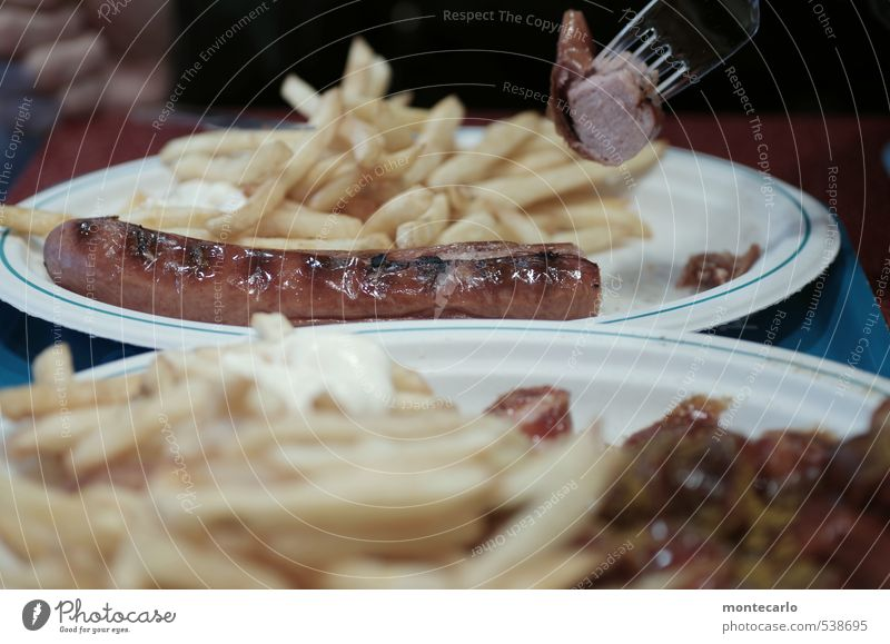 Duisburg | Bratwurst | French fries Food Sausage Ketchup Eating Lunch Fast food Snack bar Plate Fork Plastic To enjoy Fragrance Thin Authentic Simple Creepy