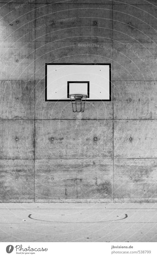 basketball hoop Leisure and hobbies Playing Sports Ball sports Basketball Basketball basket Athletic Town Gray Black White Black & white photo Exterior shot