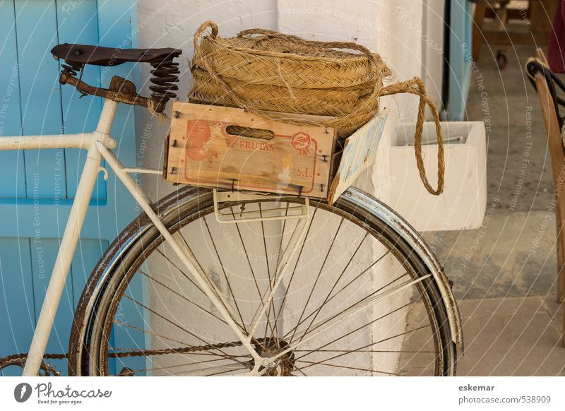 Vacation & Travel Old Blue White Street Natural Lifestyle Transport Idyll Bicycle Authentic Esthetic Joie de vivre (Vitality) Simple Cycling Retro