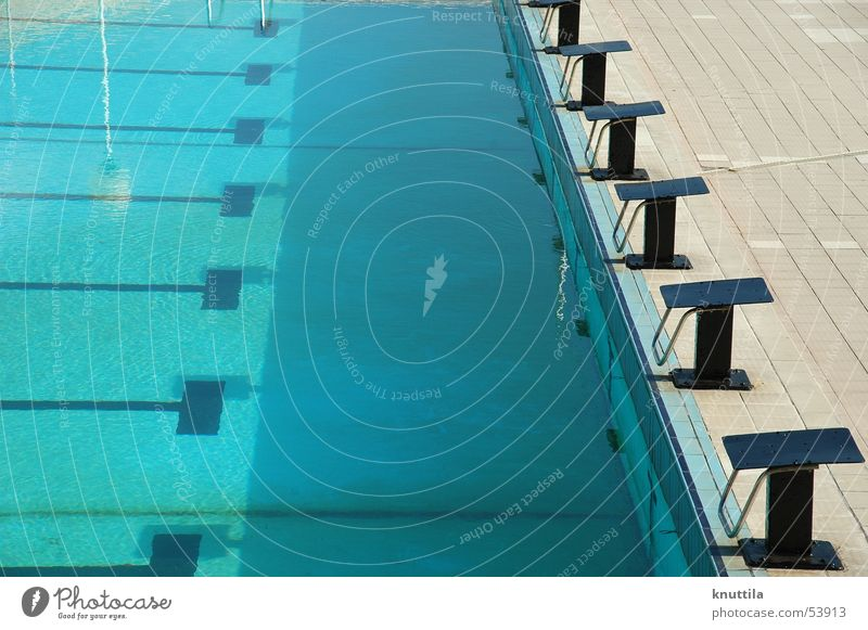 Swimming Pool Swimming pool Starting block (track and field) Calm Smoothness Open-air swimming pool Blue Water Railroad Success