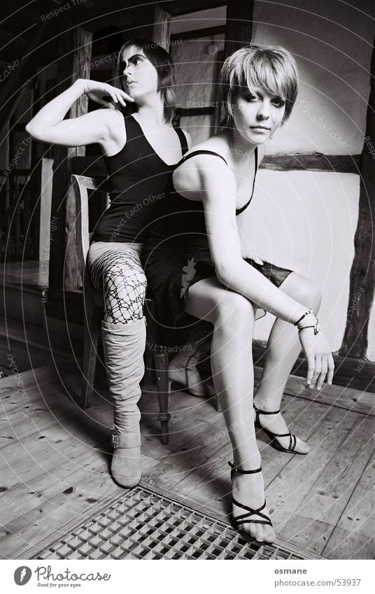 sarah and pupsi Lascivious Black White Grating Half-timbered facade Woman Parquet floor Chair Sit