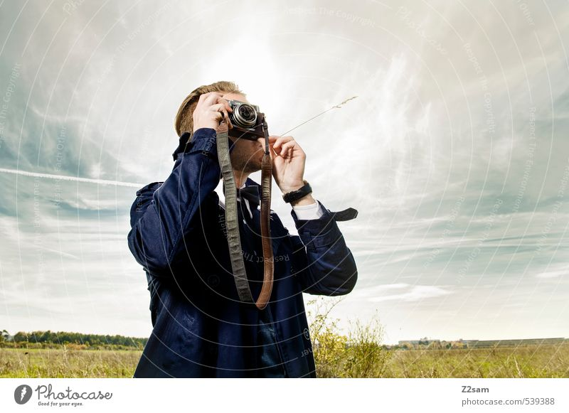 THE PHOTOGRAPHER Lifestyle Elegant Style Masculine Young man Youth (Young adults) 30 - 45 years Adults Sky Clouds Autumn Beautiful weather Grass Bushes Meadow