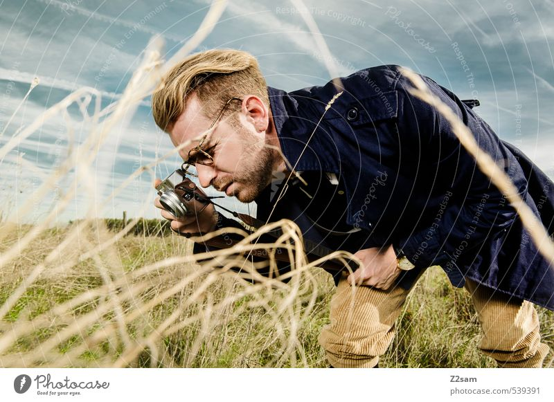 Human being Sky Nature Youth (Young adults) Landscape Young man 18 - 30 years Adults Meadow Autumn Style Fashion Masculine Elegant Blonde Lifestyle