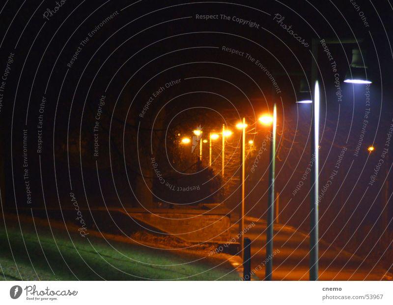 Green Blue Calm Black Loneliness Yellow Colour Lamp Dark Meadow Lanes & trails Lighting Orange Lantern River bank Rhine
