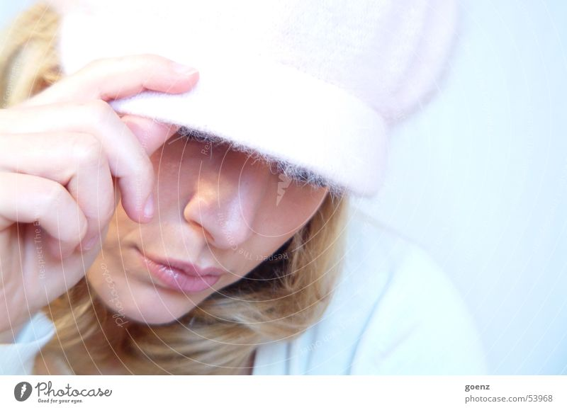 Word! Woman Beautiful Model Beauty Photography Blonde Pink Cap Soft Cold Delicate Hip-hop Posture Face babe Earring expressive Eyes Mouth Blue Hat