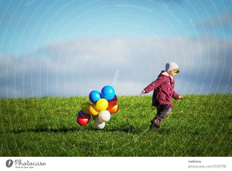 My balloons and me. Human being Feminine Child Girl Infancy Life 1 3 - 8 years Environment Nature Autumn Beautiful weather Meadow Field Running Hiking Free