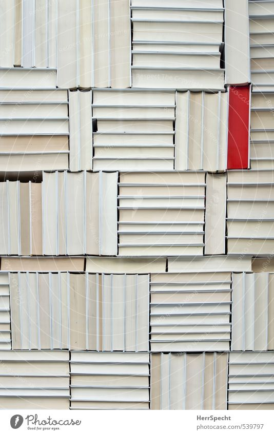 White Red Exceptional Arrangement Book Esthetic Uniqueness Paper Collection Difference Stack Orderliness Protruding Distinctive Rear side Bookshelf