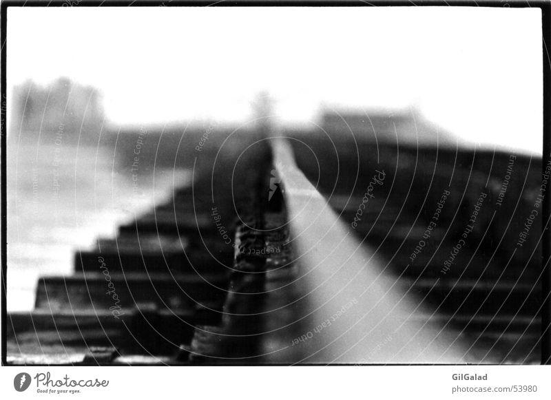 White Loneliness Beach Black Dark Coast Wood Metal Infinity Harbour End Railroad tracks Navigation Steel North Sea Spiekeroog