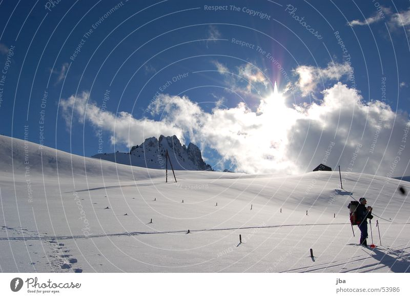 Beautiful Sky Sun Winter Vacation & Travel Clouds Snow Mountain Landscape Skiing Break Tracks Photographer Slope Skier Powder