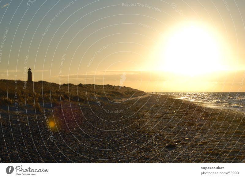 Nature Sky Sun Ocean Beach Clouds Loneliness Beach dune Lighthouse Surf Lens flare Evening sun Patch of light