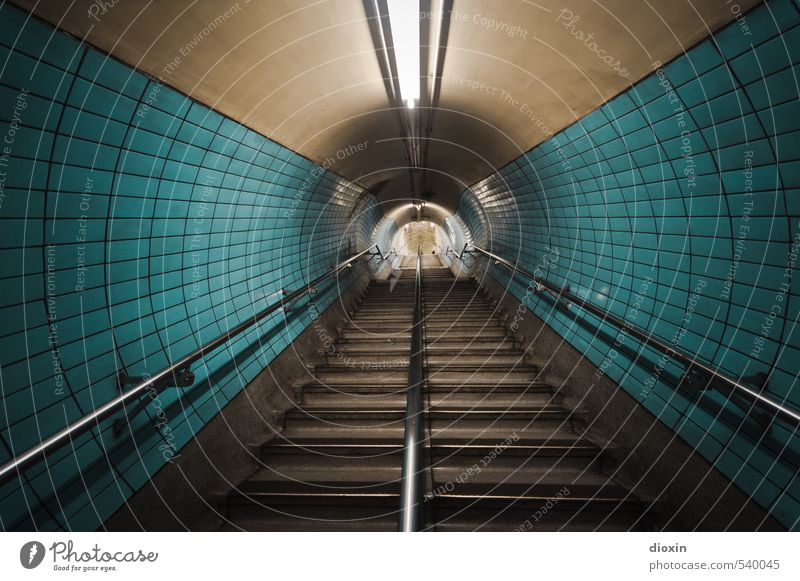 look down the tube Capital city Downtown Deserted Tunnel Manmade structures Architecture Wall (barrier) Wall (building) Stairs Banister Tile Neon light