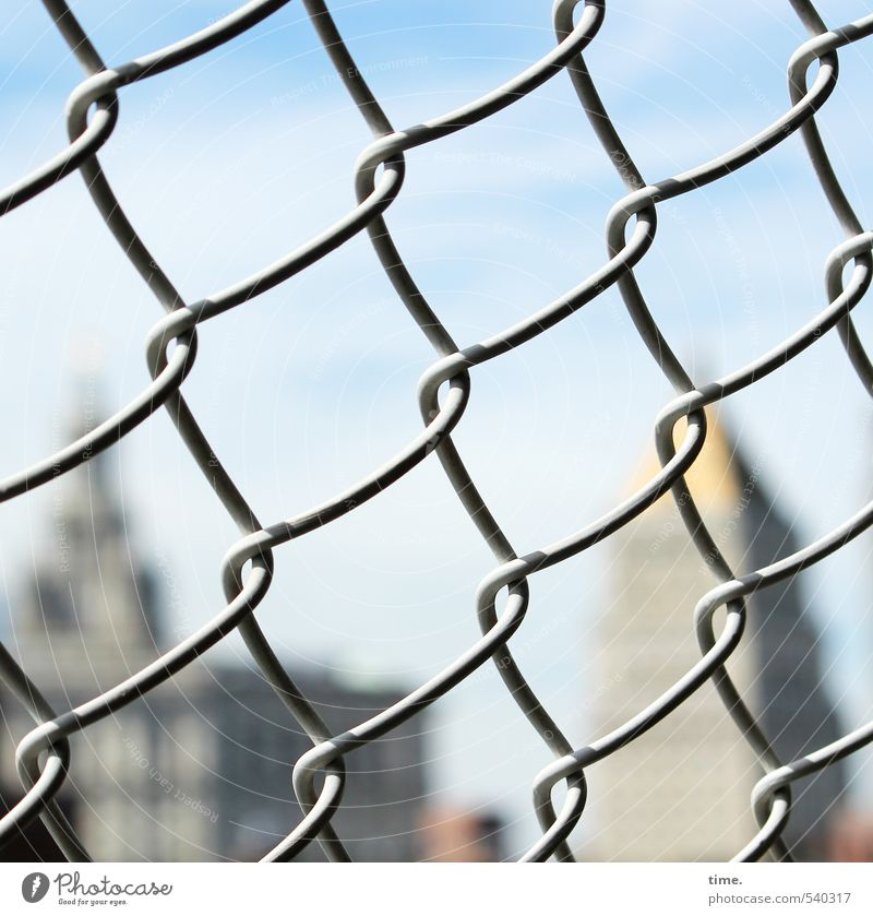 jump protection Sky Beautiful weather New York City Skyline High-rise Bridge Wire Mesh grid Grating Wire netting fence Apocalyptic sentiment Considerate Threat