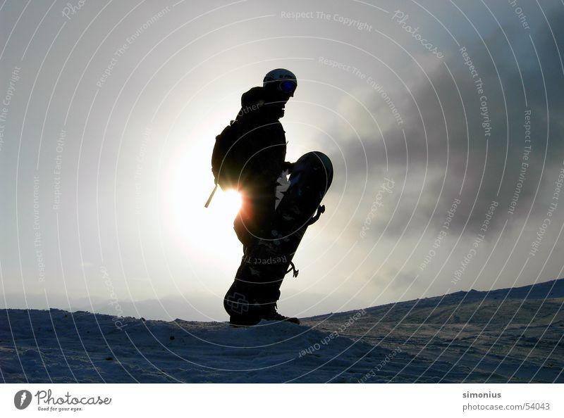 Sun Clouds Cold Snow Stand Carrying Snowboard Winter sports Ski run Winter mood Snowboarder Winter sun