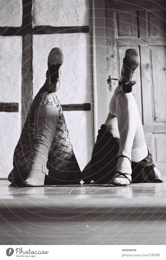 Woman Feet Legs Footwear Door Floor covering Net Boots Stockings High heels Sandal Half-timbered facade Suspender belt