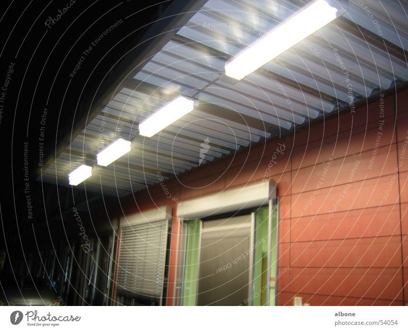 Illuminated sluice entrance Leipzig Entrance Light Night Academic studies air shower Lighting kte