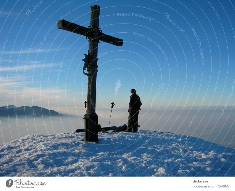 Gipfelkreuz am Heuberg near Rosenheim Peak Peak cross Fog High fog Ski pole Vacation & Travel Discover To board First ascent Snow Mountain hay mountain