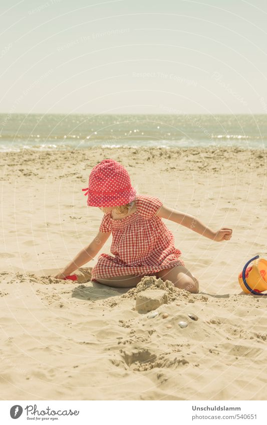 Human being Child Vacation & Travel Beautiful Summer Ocean Relaxation Calm Girl Joy Beach Life Playing Happy Bright Idyll