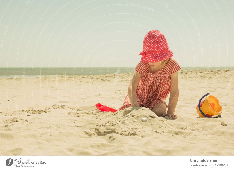 Time at the sea Lifestyle Relaxation Leisure and hobbies Playing Vacation & Travel Tourism Summer Summer vacation Beach Ocean Human being Girl Infancy