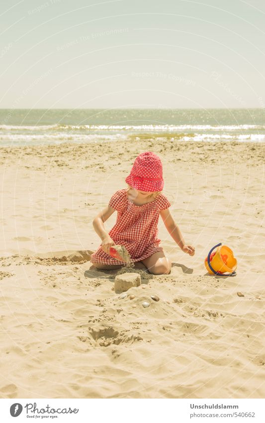 Human being Child Nature Vacation & Travel Summer Sun Ocean Relaxation Girl Joy Beach Life Playing Bright Idyll Contentment
