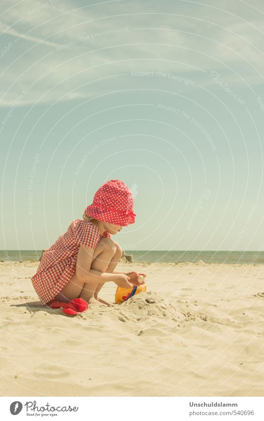 Child Vacation & Travel Colour Summer Sun Ocean Red Relaxation Girl Joy Beach Life Playing Sand Bright Idyll