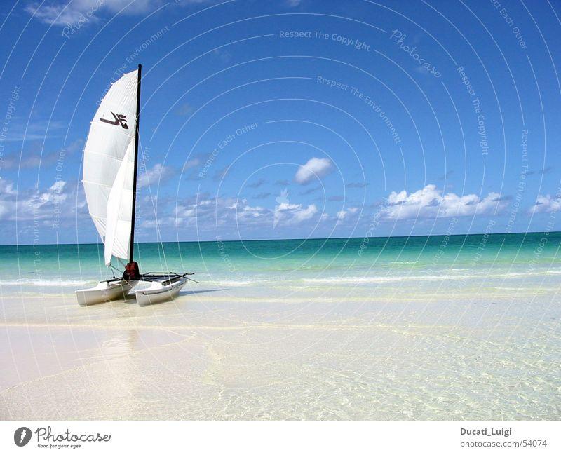 Sun Ocean Beach Vacation & Travel Relaxation Freedom Sand Island Swimming & Bathing Sailing Cuba Beautiful weather Blue sky Catamaran