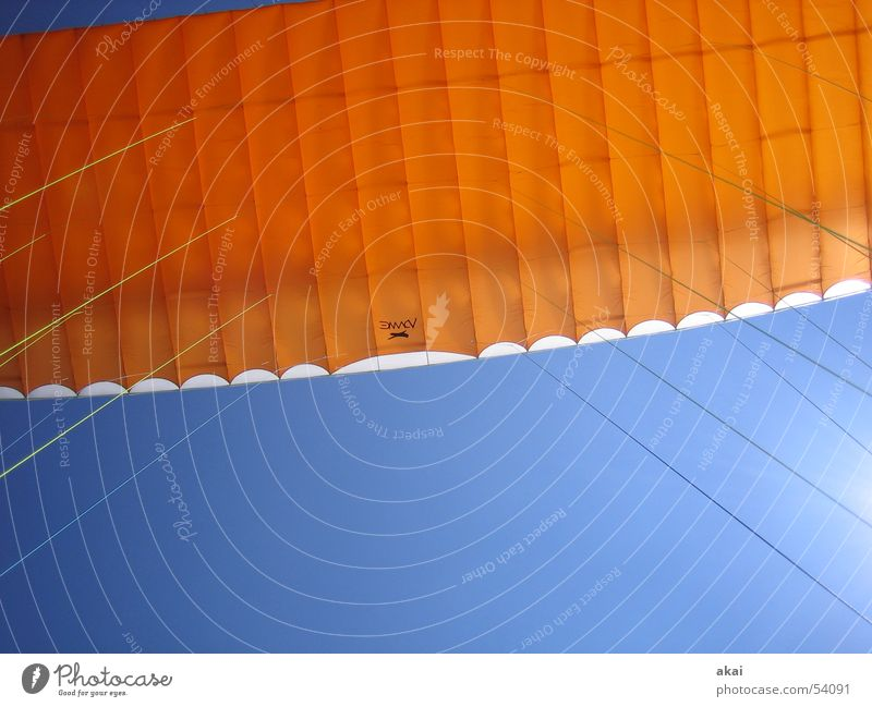 Airborne Colors Operational Paraglider Paragliding Play of colours Sky blue Clearance for take-off Orange Contrast Monitoring Schauinsland Sports Aviation