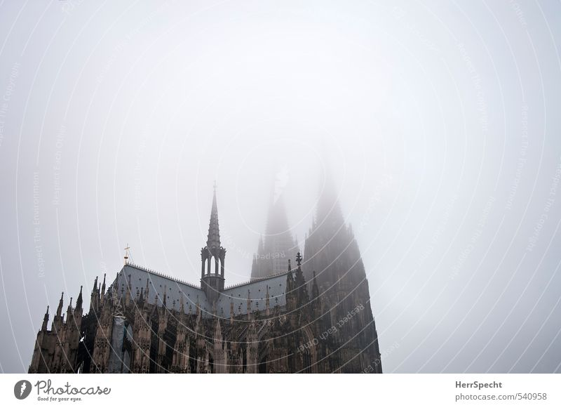 Fog soup with dome Sky Autumn Bad weather Cologne Church Dome Tower Manmade structures Building Architecture Roof Tourist Attraction Landmark Cologne Cathedral