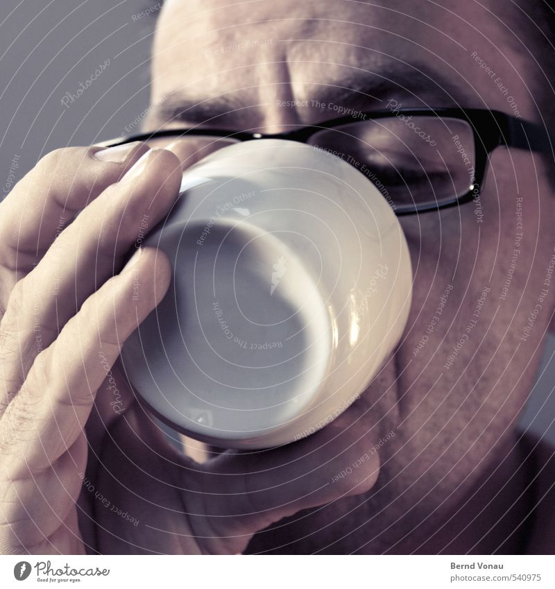 Good morning! Good morning! Human being Masculine Man Adults Fingers 1 45 - 60 years Contentment Beginning Coffee Cup White Black Person wearing glasses