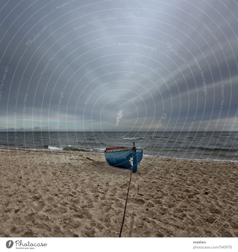 Long line Landscape Sand Water Sky Clouds Storm clouds Horizon Autumn Climate Bad weather Waves Coast Beach Ocean Deserted Fishing boat Blue Brown Gray Moody