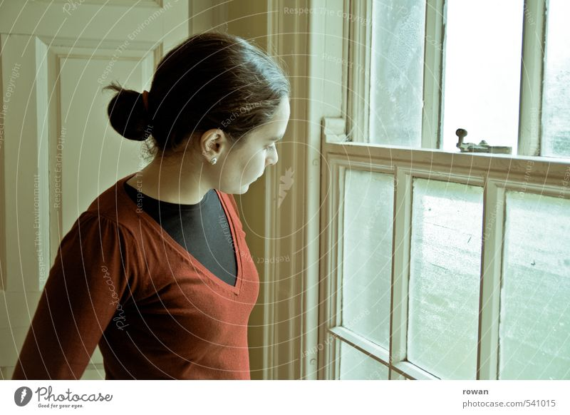 Looking out Human being Feminine Young woman Youth (Young adults) Woman Adults 1 Window Historic Beautiful Calm Sadness Concern Grief Disappointment Loneliness