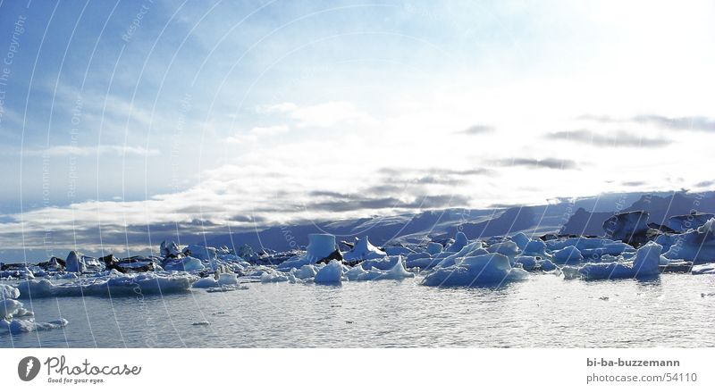 Sky White Ocean Blue Winter Clouds Cold Ice Europe Iceland Real estate Glacier Iceberg Ice floe