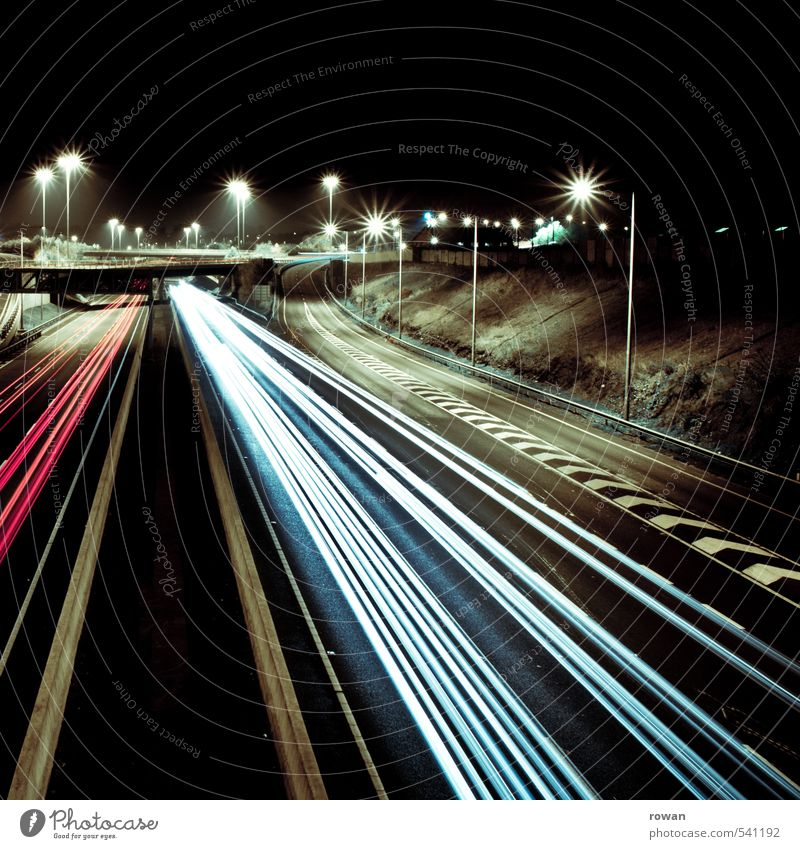 speed Transport Means of transport Traffic infrastructure Passenger traffic Motoring Street Highway Vehicle Car Speed Movement Night journey Left-hand traffic