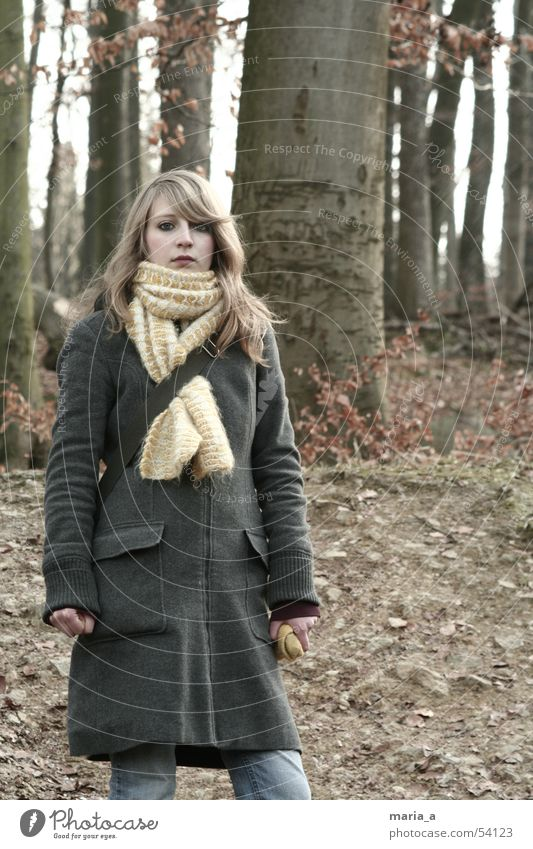 a girl stands in the woods, all silent and dumb... Forest Tree Scarf Winter Cold Loneliness Autumn Gray Coat Fat Packaged Attract Clothing Blonde Leaf