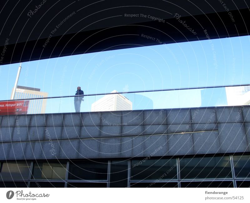 transparency Loneliness Iron blue Future Exterior shot Sky Blue Modern Think reflection Town Architecture