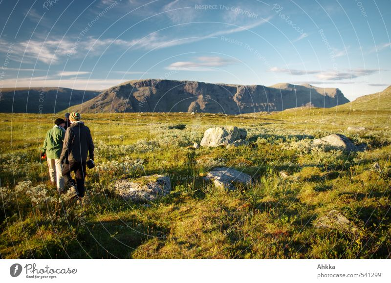 Human being Youth (Young adults) Vacation & Travel Green Landscape Calm Mountain Life Meadow Lanes & trails Freedom Rock Horizon Moody Friendship Together