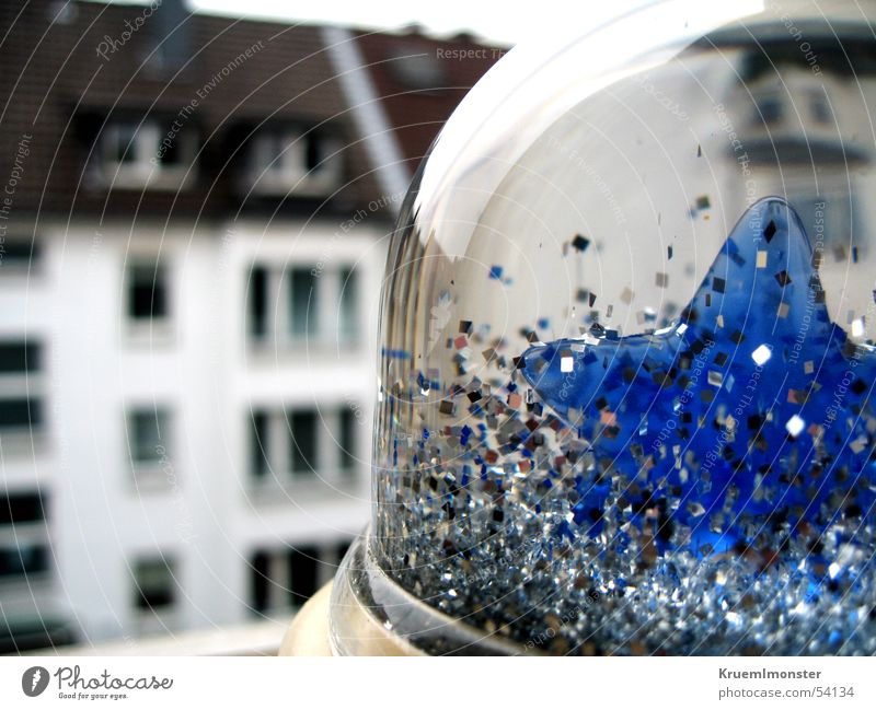 Blue House (Residential Structure) Clouds Dark Window Glittering Roof Snowglobe